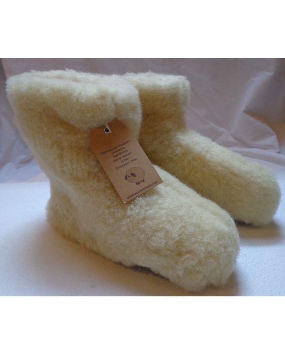 Woolwarmers wollen pantoffels  WIT